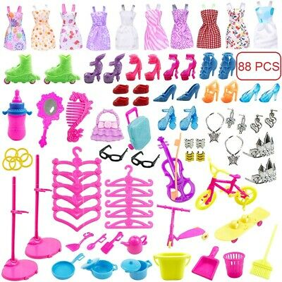 88pcs/Set for Barbie Doll Dresses, Shoes and jewellery Clothes Accessories UK