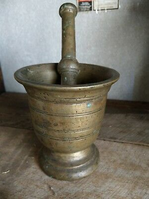 Antique Heavy Brass Mortar And Pestle