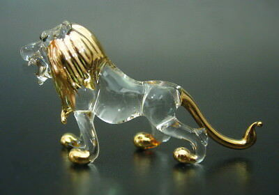 African Glass LION Gold Painted Glass Figure Blown Glass Animal Glass Ornament