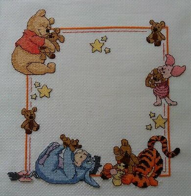 Personalised Completed Cross Stitch Baby Birth Sampler Winnie the Pooh