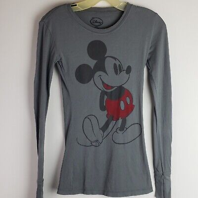 349d8a85 MICKEY MOUSE DISNEY Long Sleeve Graphic T-Shirt Women's Grey Size XS ...