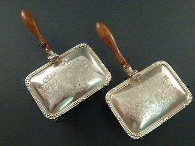 Beautiful Pair Of Harrods Silver Butter Servers, With Turned Wood Handles