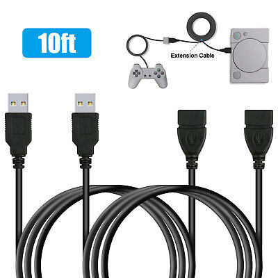 2-Pack 10ft Extension Cable Cord for Sony PlayStation Classic controller