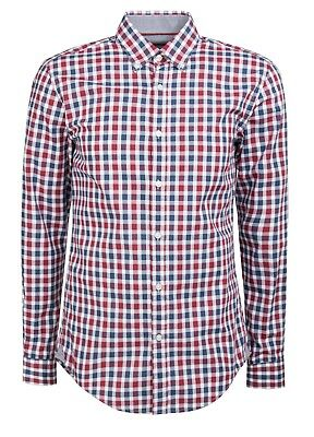 0a3cfbc09 NWT $145 Hugo Boss Rod Slim Fit Plaid Cotton Button Down Red Blue 2XL
