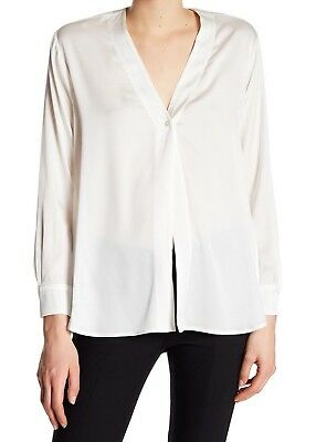 1e49c5c23ffaf4 VINCE SILK BLOUSE Off White Contrast Tip Sleeveless Size 0 New ...