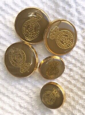 Vintage Order Of The Garter Gilt Backed Shank Buttons 3 X 2cm, 2 X 1.5 Cm