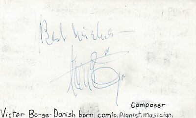 Victor Borge Danish Comedian Musician Pianist Composer Music Signed Index Card