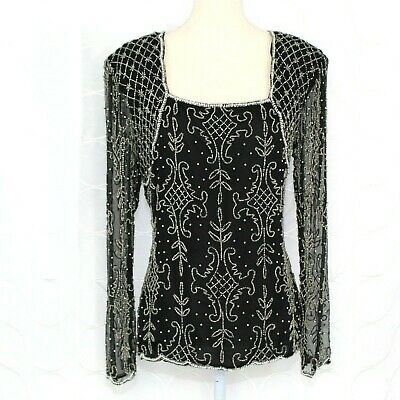 0ad5843f2193f Vintage Stenay Womens Silk Beaded Blouse Size Large Black Sequins Top  Cocktail