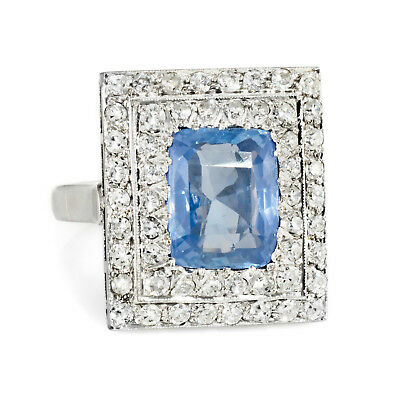 Antique Deco No Heat Natural Sapphire Diamond Square Ring Vintage 18k Gold