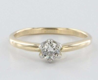 Vintage 14k Gold Diamond Engagement Ring Estate Fine Jewelry Heirloom Fine 7.5