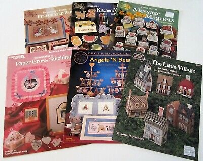 Lot of 6 Vintage PERFORATED PAPER Counted Cross Stitch Leaflets and Books