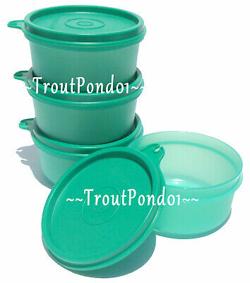 Tupperware Snack Bowls 7 Ounce Serving Bowl Teal Green Set of 4 Bowls