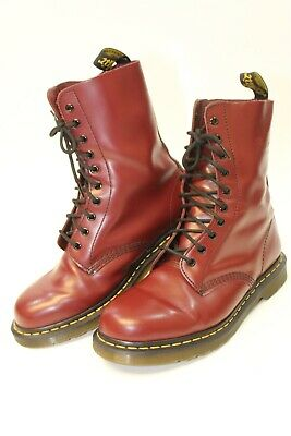 3faa17a4834b Dr. Doc Martens 1490 Mens 10 43 Smooth 10-Eye Burgundy Red Leather Combat