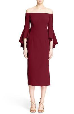 98bd3cff8081 NEW MILLY Wine Red Chic Off Shoulder Selena Ruffle Bell 3 4 Sleeve Midi  Dress