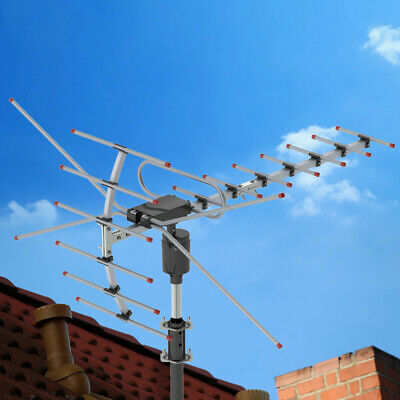 150Mile 1080P Outdoor Amplified TV Antenna Digital Signal HD Install-free UHFVHF