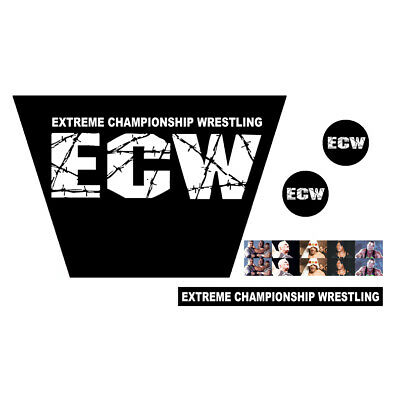 WWF/WWE Mattel Retro Original ECW White Logo Custom Ring Stickers/Decals