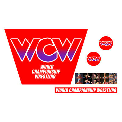 WWF/WWE Mattel Retro WCW Red/Purple Logo Custom Ring Stickers/Decals