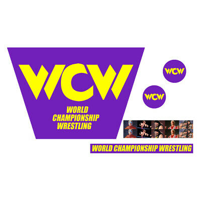 WWF/WWE Mattel Retro WCW Yellow Logo Custom Ring Stickers/Decals