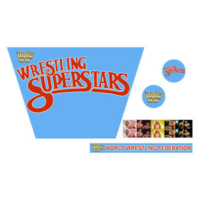 WWF/WWE Mattel Retro Wrestling Superstars Blue Custom Ring Stickers/Decals
