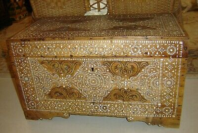 Antique 19th Century Islamic Syrian Mother of Pearl Inlay Inlaid Trunk Chest.