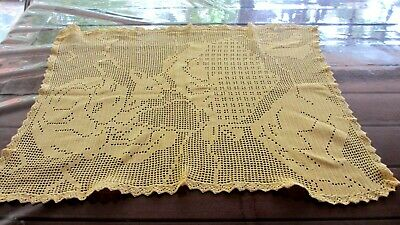 Vintage Buttercup Yellow  Crochet small table cloth 64 cms x 53 cms