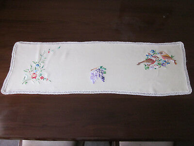 Beautifully Hand Embroidered Runner With Birds Flowers And Grapes
