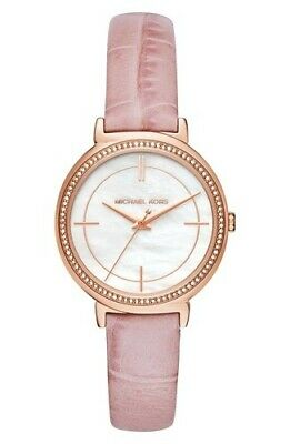 Michael Kors Women's Cinthia Leather Strap Watch - Pink/Rose Gold