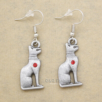 Egyptian Cleopatra Ancient Silver Bastet Bast Cat Earrings Wicca Pagan