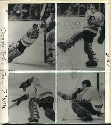 1968 Press Photo Doug Favell's series of gyrations during National Hockey League