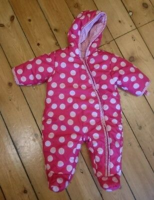 4a125d06d M S MARKS AND Spencer Baby Girl Pram Snow Suit Pink Spotty 0-3 mths ...