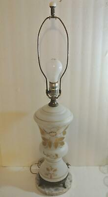 GORGEOUS Estate Hand Painted Gold White Floral MILK GLASS Table LAMP Marble Base