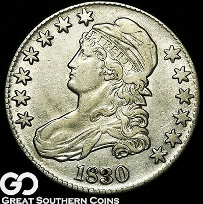 1830 Capped Bust Half Dollar, Nice Early Silver Half