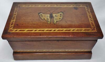 Fine Antique Victorian Miniature Hand Painted Inlay Inlaid Wood Chest Casket Box
