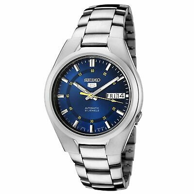 New Seiko 5 SNK615 Men's Stainless Steel Blue Dial Day Date Automatic Watch