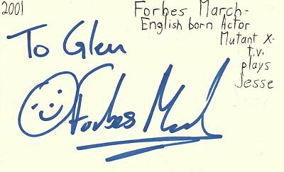 Forbes March English Born Actor Jesse Mutant X TV Autographed Signed Index Card