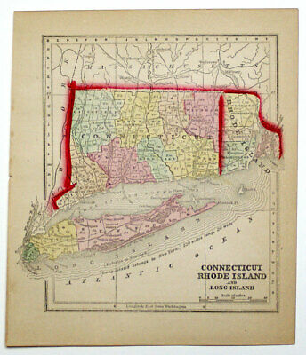 1857 Connecticut Rhode Island Long Island, Morse Gaston Antique Hand-Colored Map