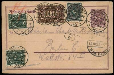 Germany 1923 Berlin Inflation Rohrpost Pneumatic Stationery Cover 82332