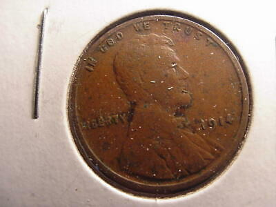 1914 P Lincoln Wheat Penny Cent No Mint Mark Very Fine