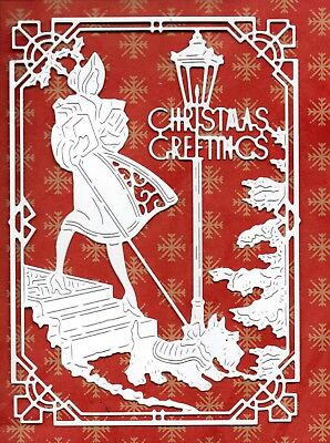 New Tattered Lace Art Deco Lady+ Scotty Dog Scene Die Cuts- White Xmas Topper