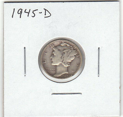1945-D 10 Cent Mercury Dime - 90% Silver Denver Mint - Winged Liberty Head