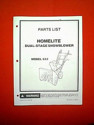 homelite 2 stage snowblower / snowthrower model 523 parts manual