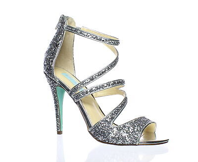 2c42aa8dcdd Blue by Betsey Johnson Womens Izzy Silver Glitter Sandals Size 8 (182174)