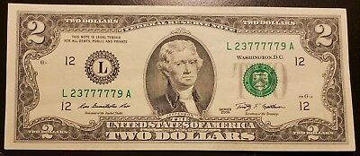 LUCKY SEVENS Uncirculated 2009 Two Dollar Bill Crisp $2 Note (A10)