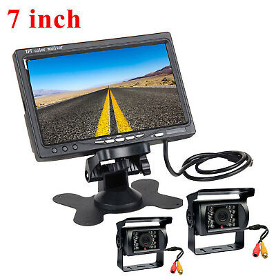 "7"" TFT LCD Rear view Monitor+Dual Wired IR waterproof Car Camera For Bus truck"