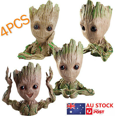 4 X Guardians of The Galaxy Baby Groot  Figure Flowerpot Pen Pot Toys Decor Set