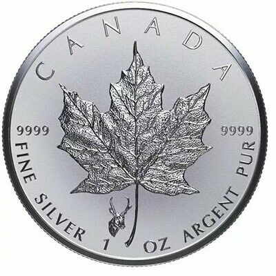 2018 Reverse Proof 1 oz.9999 Fine Silver Canadian Antelope Privy Maple Leaf Coin