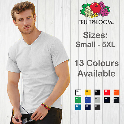 Fruit Of The Loom Mens T-Shirt Valueweight V Neck Top Unisex Cotton Plain Man