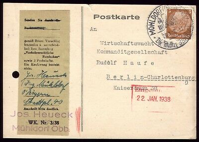 Germany 1938 - Third Reich Muhldorf Town Special Postmark Used on Postcard