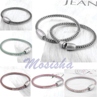 Colors Mens Women Mesh Wrap Magnetic Clasp Leather Bracelet Cuff Wristband-CA