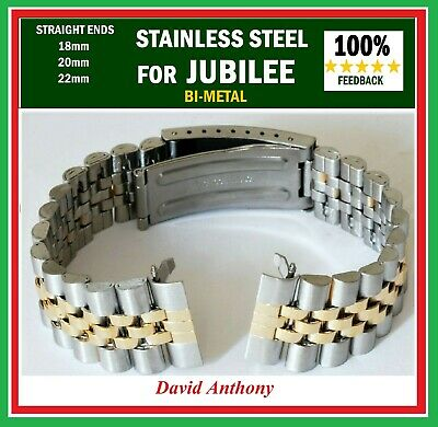 CHOOSE 18mm 20mm OR 22mm For JUBILEE LINK STRAIGHT ENDS, WATCH BRACELET, QUALITY